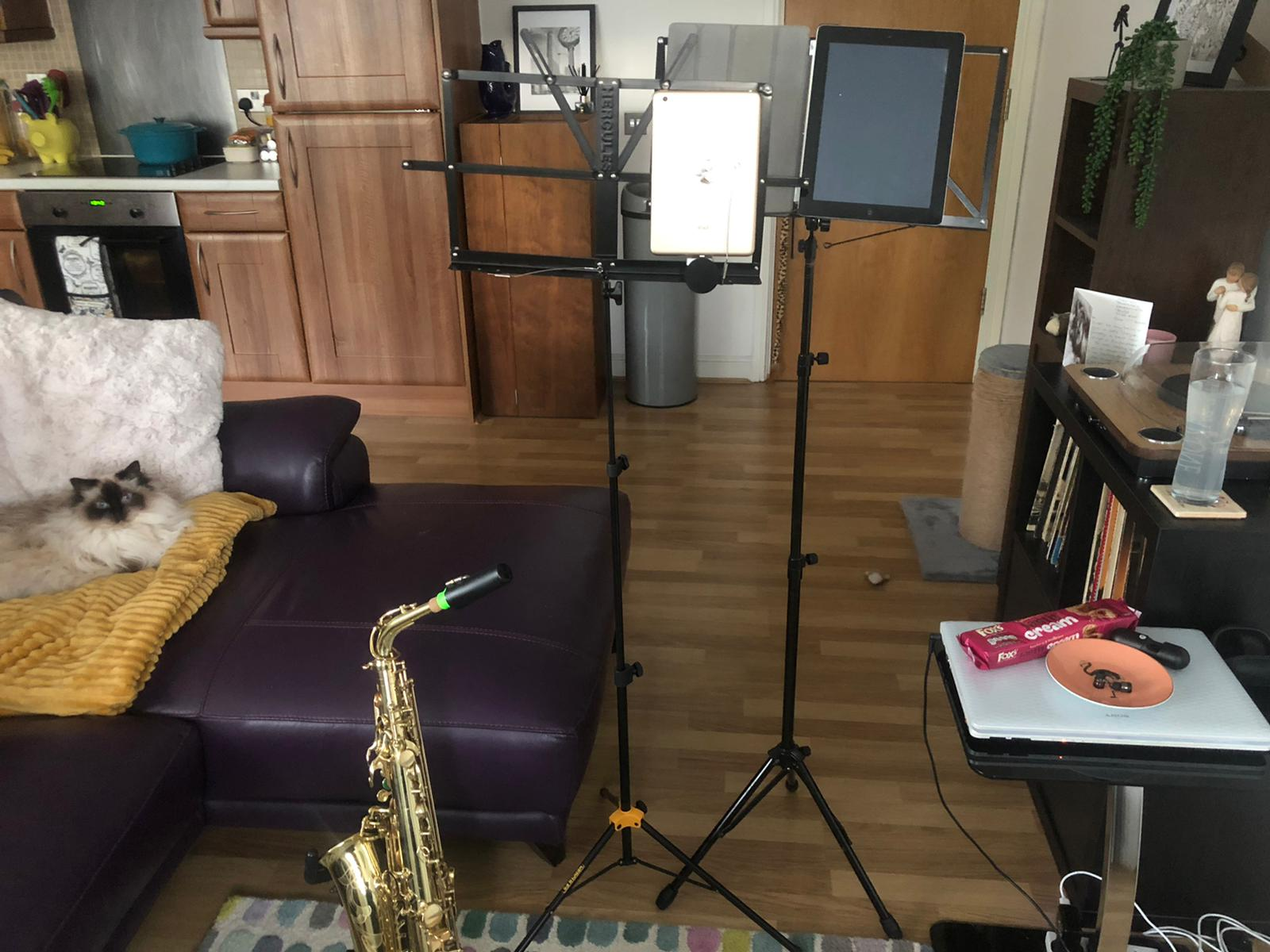 The People's Orchestra saxophonist Manda's home recording set-up.